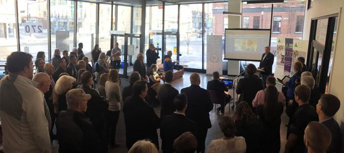 The announcement of the inductees for the 2018  Business Hall of Fame took place on January 10, 2018, in the foyer of the VentureNorth building at 270 George Street in downtown Peterborough.  (Photo: Jeannine Taylor / kawarthaNOW.com)