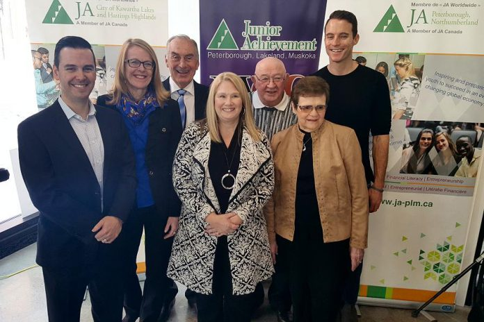 The Junior Achievement Peterborough, Lakefield, Muskoka 2018 Business Hall of Fame inductees: Robert Gauvreau, Monika Carmichael, Carl Oake, Sally Harding, Alf and June Curtis, and Paul Bennett (not present: Paschal McCloskey). Two posthumous inductees were also announced: John A. McColl and James H. Turner, and John James (Jack) Stewart. (Photo: Jeannine Taylor / kawarthaNOW.com)