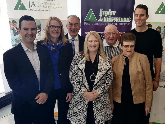 The Junior Achievement Peterborough Lakefield Muskoka 2018 Business Hall of Fame inductees: Robert Gauvreau, Monika Carmichael, Carl Oake, Sally Harding, Alf and June Curtis, and Paul Bennett (not pictured: Paschal McCloskey). Two posthumous inductees were also announced: John A. McColl and James H. Turner, and John James (Jack) Stewart. (Photo: Jeannine Taylor / kawarthaNOW.com)