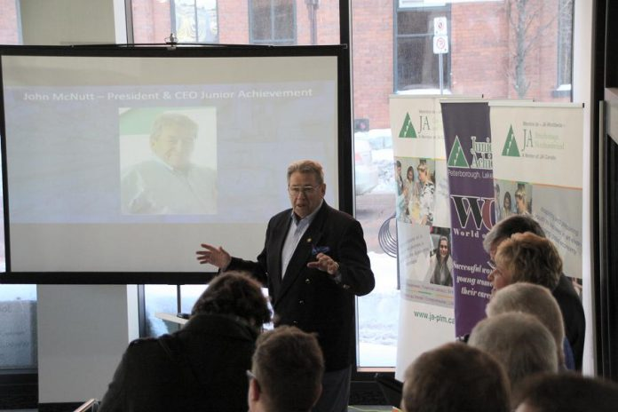 John McNutt, President & CEO of Junior Achievement Peterborough Lakefield Muskoka, also announced as the establishment of a Legacy Fund to be used exclusively for the creation and running of entrepreneurship programs. (Photo: Jeannine Taylor / kawarthaNOW.com)
