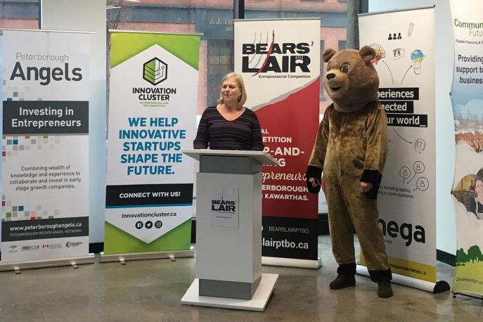2018 Bears' Lair Chair Diane Richard of Diatom Consulting with the entrepreneurial competition's mascot at VentureNorth in downtown Peterborough on January 12th, where the opening of the annual competition was announced. An orientation session for interested entrepreneurs takes place on Tuesday, January 16 at the Peterborough Chamber of Commerce. (Photo: Bears' Lair)