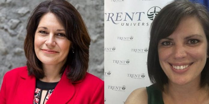 Julie Davis and Alison Scholl of Trent Unversity's External Relations and Advancement will speak at the monthly Peterborough DBIA Breakfast Network on January 17. (Photos: Julie Davis / Alison Scholl, Twitter)