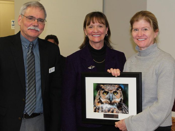 Dr. Sue Carstairs (right), executive and medical director of the Ontario Turtle Conservation Centre, accepts the Environmental Excellence Stewardship Award from Ontonabee Conservation chair Andy Mitchell and vice-chair Sherry Senis. (Photo: Otonabee Conservation)