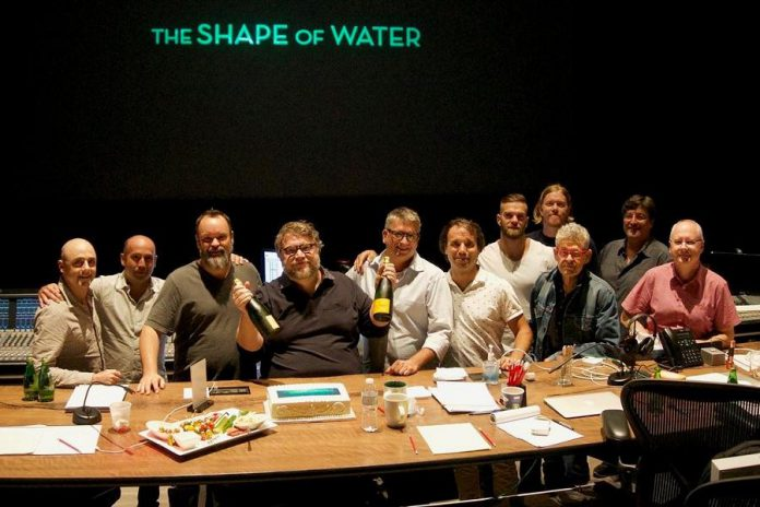 "The Deluxe Toronto sound team, including Lindsay's Christian Cooke (fifth from left) celebrating their BAFTA nomination for ""The Shape of Water"". (Photo: Deluxe Toronto)"