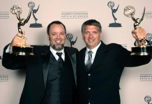 """Lindsay resident Christian Cooke (right) and colleague Brad Zoern with their 2012 sound mixing Emmy Awards for """"Hatfields & McCoys"""". Cooke and Zoern, along with other members of the sound team for """"The Shape of Water"""" including Peterborough native Glen Gauthier, have been nominated for a 2018 BAFTA Award. (Photo: Emmy Awards)"""