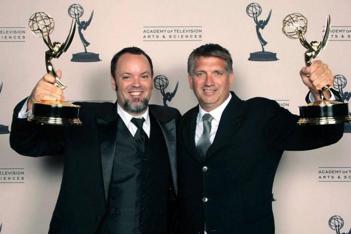 "Lindsay resident Christian Cooke (right) and colleague Brad Zoern with their 2012 sound mixing Emmy Awards for ""Hatfields & McCoys"". Cooke and Zoern, along with Peterborough native Glen Gauthier, have been nominated for the Sound Mixing Oscar for 'The Shape of Water'. (Photo: Emmy Awards)"