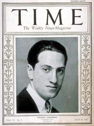 "American composer George Gershwin on the cover of TIME magazine in 1925. The PSO will perform his ""An American in Paris"" and ""Rhapsody in Blue"" on February 3. (Photo: TIME)"