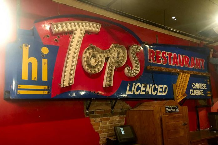 The iconic Hi Tops restaurant sign is now hanging in one piece on a wall in Hot Belly Mama's restaurant in downtown Peterborough. (Photo: Hot Belly Mama / Facebook)