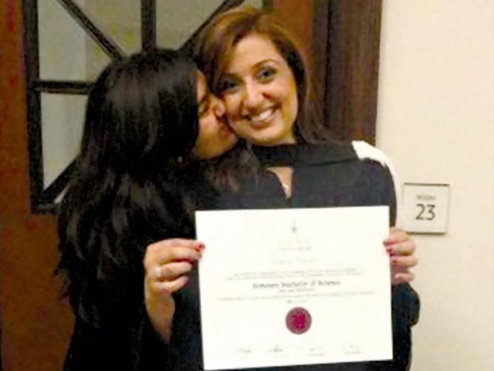 After leaving her abusive arranged marriage, Samra Zafar pursued her education while a single mom of two girls and working various jobs, and managed to graduate as the top student in Economics at the University of Toronto.  (Photo courtesy of Samra Zafar)