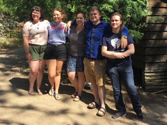 Kaleigh Martherus (second from left) was one of five summer students who worked last summer at Kawartha Land Trust with funding provided under the Canada Summer Jobs program. The federal government is accepting applications from employers for the 2018 program until February 2, 2018. (Photo: Kawartha Land Trust)