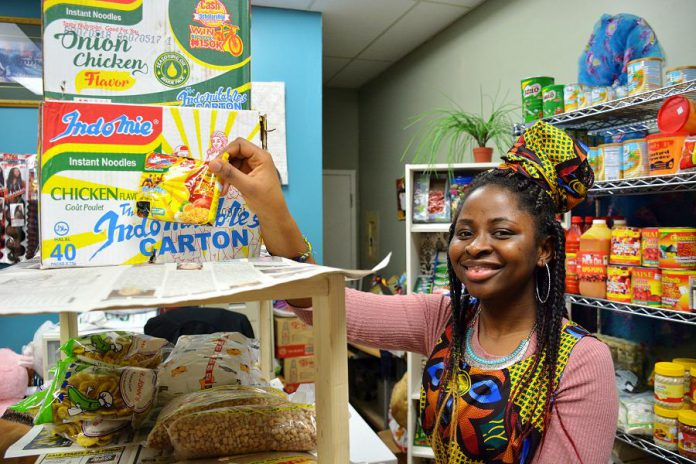 The shop offers African food that can be impossible to find locally. Bukola says that these noodles are very popular in Nigeria. (Photo: Eva Fisher / kawarthaNOW.com)