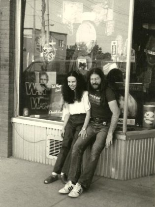 Moondance owners Cheryl and Mike Taveroff in 1975, in front of their original Moondance store at 249 George Street just north of Sherbrooke. Cheryl had originally opened Moondance, named after the Van Morrison song, as a clothing store, where Mike began to sell records. (Photo courtesy of Mike Taveroff)