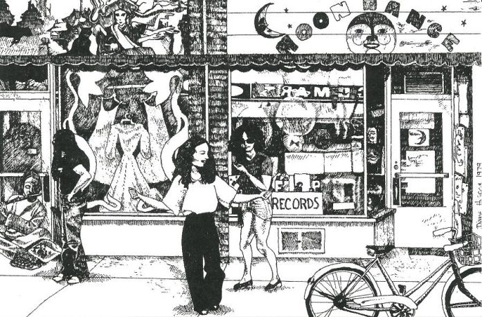 The spirit of the '70s is captured in this 1979 drawing by Diane Hiscox of Cheryl and Mike Taveroff in front of their original Moondance store at 249 George Street North in downtown Peterborough. (Moondance postcard)