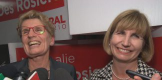Nathalie Des Rosiers (right) with Premier Kathleen Wynne after being elected as MPP for Ottawa-Vanier in 2016. On January 17, 2018, Wynne appointed Des Rosiers as the new Minister of Natural Resources and Forestry. (Photo: Radio Canada)