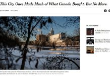 The New York Times has run a feature story on the impact of the pending closure of the GE plant in Peterborough. (Screenshot of NYT website)
