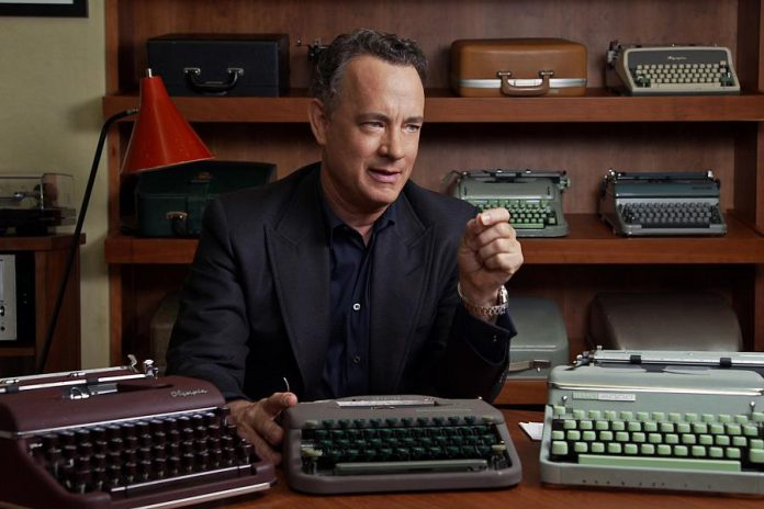 "Tom Hanks in a scene from the award-winning documentary film ""California Typewriter"", an ode to the typewriter that opens the 2018 Reframe Film Festival. Typewriters will be set up at all venues during the festival so attendees can contribute to a community art project being created by Peterborough mixed-media artist Jeffrey Macklin. (Photo: American Buffalo Pictures)"