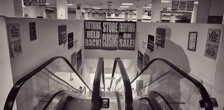 """Peterborough resident Barry Killen posted a video on Instagram of the doors of the local Sears store being locked for the final time. He also posted this symbolic photo, which he calls """"Death of a Salesman 2018"""". All Sears stores closed on January 14, 2018, the end result of the department store chain declaring bankuptcy in 2017. (Photo: Barry Killen @theburleighridge_beareh / Instagram)"""