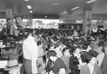 What a difference 64 years makes: customers crowd the Peterborough Sears store on opening day on August 26, 1954, when the store was called Simpsons-Sears. In 2017, Sears Canada entered bankruptcy protection, affected by the growth of online shopping and an inability to attract younger customers. All remaining Sears stores, including the one in Peterborough, close for good on January 14, 2018. (Photo: Peterborough Museum and Archives)