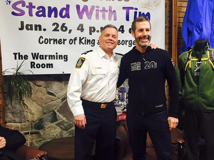 Deputy Police Chief Tim Farquharson with Scott Murison, co-owner of Wild Rock, which supplied Farquharson with his winter gear. Wild Rock has also been raising funds on its own for YES Shelter for Youth and Families, one of the recipients of donations to Peterborough Cares. (Photo courtesy of Peterborough Cares)