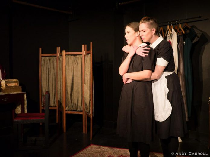 "Lindsay Unterlander and Kate Story in ""The Maids"", a pscyhosexual drama that explores dominance in the relationship between the two sisters and between the sisters and their employer. Playwright Jean Genet was inspired by details of the real-life murder case that you can research on Wikipedia before seeing the play. (Photo: Andy Carroll)"