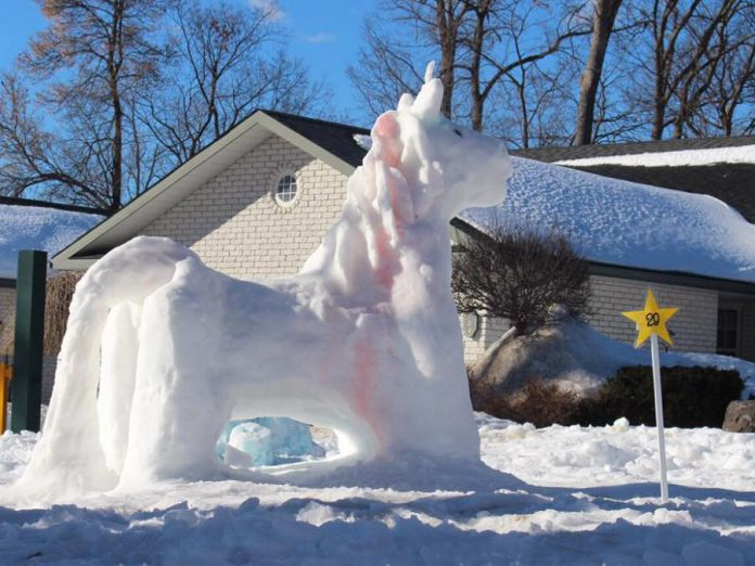 "At last year's FrostFest, the Mahoney family won for their ""Unicorn"" snow sculpture (pictured) and the Mitchell family won for their ""Mitchellsaurus"" sculpture in the Family/Group category. (Photo courtesy of Impact 32)"
