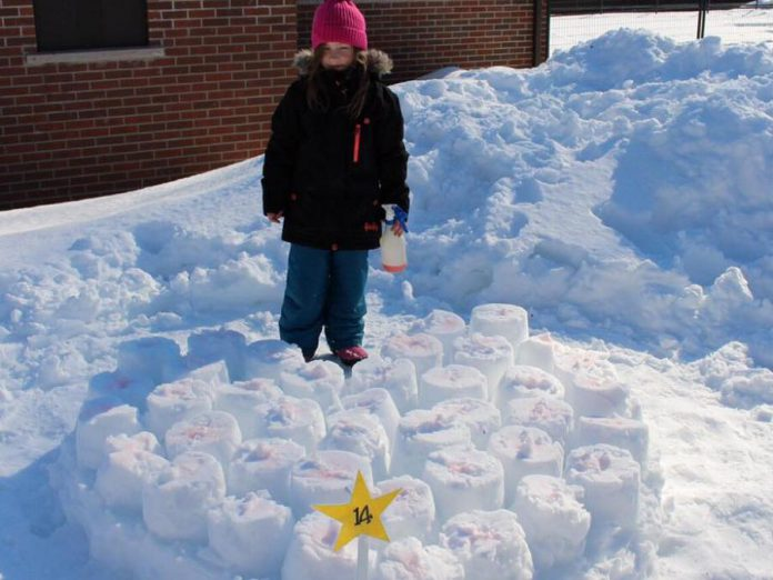 "At last year's FrostFest, Myah Heacock won in the Kids Under 10 category for her ""Marshmallow Heart"" snow sculpture. (Photo courtesy of Impact 32)"