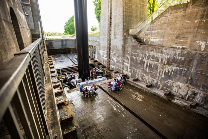 "Peterborough & the Kawarthas Economic Development won the Special Events award at the Economic Developers Council of Ontario 2018 Awards of Excellence for ""Under Water Dining at Lock 21"", where visitors dine at the Peterborough Lift Lock. (Photo: Michael Hurcomb)"