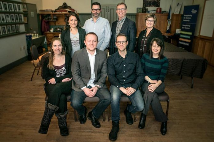 The Peterborough Musicfest 2018-2019 board of directors: (back row) Diane Therrien, David Feeley, Peter Lawless, Brenda O'Brien; (front row) Karen Berends, Shaun Pearce, Matt Diamond, and Shelby Parker. Not pictured: Peter Blodgett and Paul Rellinger. (Photo courtesy of Caleb Pedosiuk)
