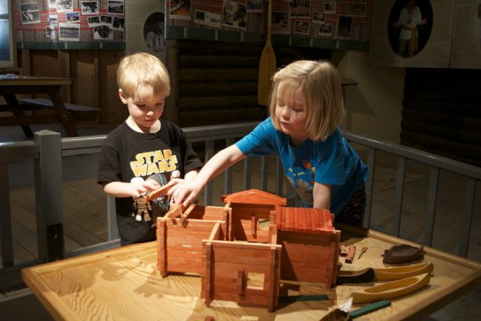 Children building a fort in 2016 at Great Canadian Family Day at The Canadian Canoe Museum in Peterborough. The 2018 event featuring activities, artisan demonstrations, and a canoe zip line returns on Monday, February 19th. (Photo courtesy of The Canadian Canoe Museum)