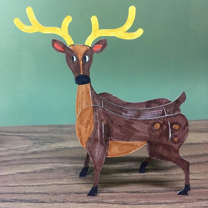 As well as artisan demonstrations, there will be 10 activity stations, including one for assembling 3D forest creatures like this deer.  (Photo courtesy of The Canadian Canoe Museum)
