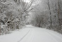 Snow-covered country road in winter
