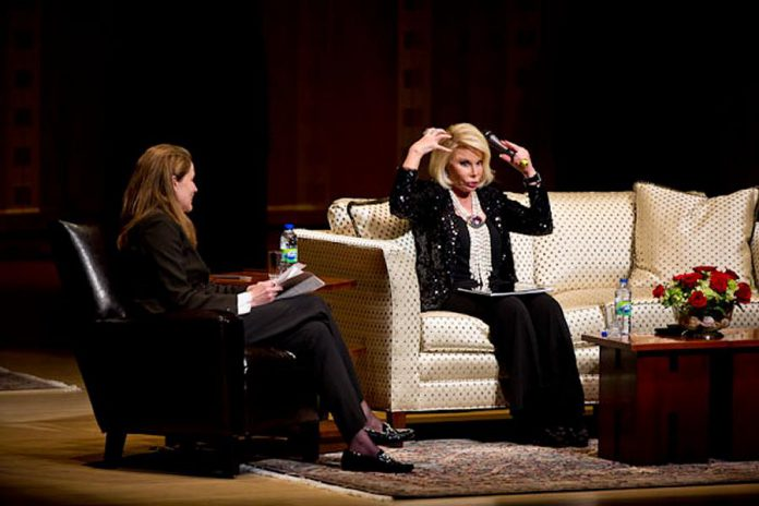 "Judy Croon interviews the late legendary comedian Joan Rivers for River's show ""Can we Talk?"" at Roy Thomson Hall in 2011. Rivers was an inspiration for Croon to pursue a career as a stand-up comic.  (Photo courtesy of Judy Croon)"