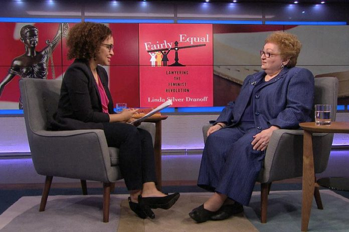 "Linda Silver Dranoff (right) being interviewed by TVO's Nam Kiwanuka in August 2017 about Silver Dranoff's book ""Fairly Equal: Lawyering the Feminist Revolution."" A Toronto-based family lawyer and activist, Silver Dranoff has contributed to the significant expansion of women's rights in family law in Canada during her 40-year career and is one of three keynote speakers at Peterborough's second annual International Women's Day Conference on March 8, 2017. (Photo: TVO)"