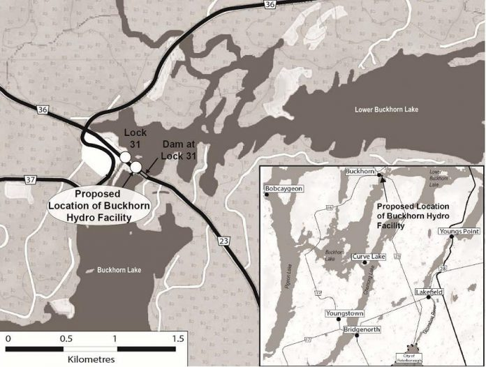Proposed location of Buckhorn hydro facility. (Map: Peterborough Utilities Inc.)