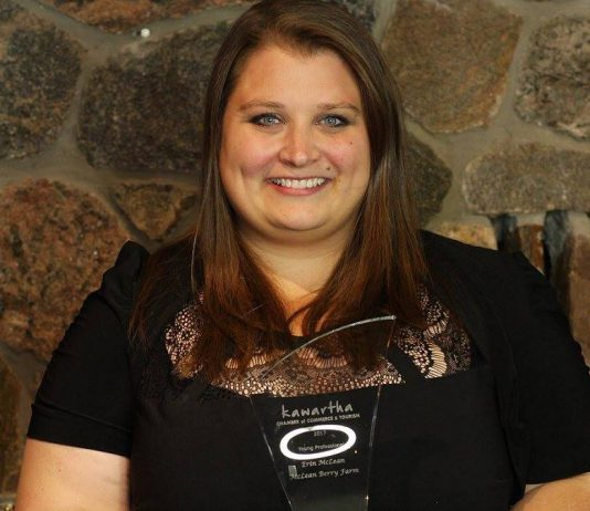 Erin McLean of McLean Berry Farm, pictured here with her 2017 Young Professional Award from the Kawartha Chamber of Commerce & Tourism, is one of the young professionals who will be part of the Business Owners Sharing Solutions (BOSS) panel on March 20, 2018.