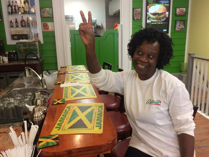 Minitha Brown Thomas of Caribbean Sizzle serves authentic Jamaican food from her George Street location. (Photo: Eva Fisher / kawarthaNOW.com)