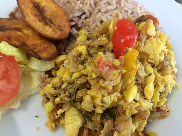 Ackee and Codfish, the national dish of Jamaica, served Peterborough style. (Photo: Eva Fisher / kawarthaNOW.com)