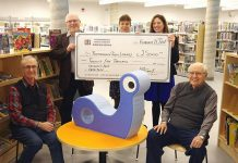 On February 21, 2018, the Peterborough Public Library Foundation presented a cheque for $25,000 for children's furniture at the newly renovated Peterborough Public Library. From left to right: Derryk Renton, Bruce Gravel, Allison Bell, Laura Murray , and James Yates. (Photo: Stephen Vass)