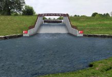 A rendering of the Millbrook Dam once the $3.9 million reconstruction has been completed in October 2018. The project will include the construction of a new 12-metre wide spillway and reconstructed earthen embankment, as well as installation of a public walkway and landscaping of the site, while maintaining the waterfall feature. (Graphic courtesy of Otonabee Conservation)