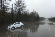Flooding on Mount Horeb Road on February 20, 2018 resulted in the closure of the road between Highway 35 and Hillhead Road. Kawartha Conservation has issued a flood warning for the entire watershed, in effect until February 23, 2018. (Photo: City of Kawartha Lakes Police Service / Twitter)