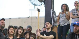 A competitor prepares to throw at the 2017 National Axe Throwing Championships. This year's tournament, which includes six members of the Peterborough Axe Club, takes place on Sunday, February 19th in Toronto. (Photo: National Axe Federation / Facebook)