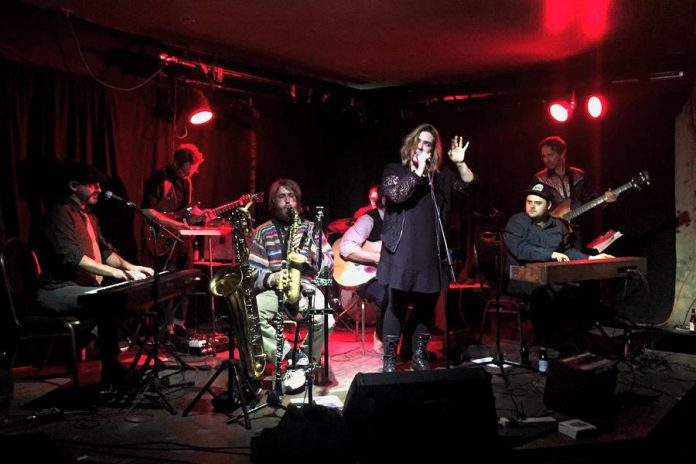 Serena Ryder joining the Silver Hearts at the Historic Red Dog Tavern in downtown Peterborough on December 16, 2017. The Silver Hearts return to the Red Dog on Saturday, February 17. (Photo: Ryan Lalonde / Twitter)