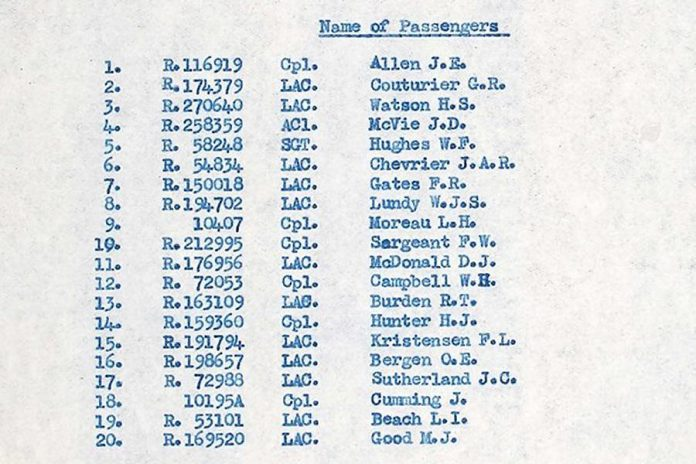 The names of the 20 passengers on Dakota KG653 from the original report after the aircraft went missing on September 24, 1944. (Supplied photo)