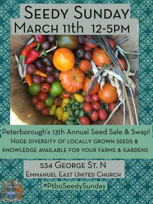 Seedy Sunday takes place on March 11, 2018 at Emmanuel East United Church at 534 George Street North in Peterborough.