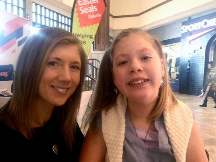 Proud mom April Lane with her daughter Kaydance, the returning Easter Seals Ambassador for 2018. (Photo: Paul Rellinger / kawarthaNOW.com)