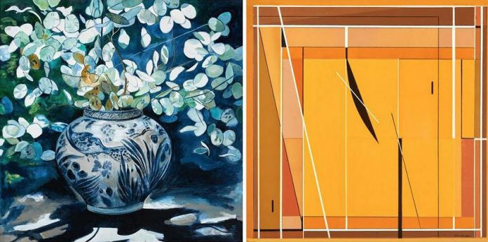 "'Chinese Pot and Silver Dollars' 30""x30"" by Jane Eccles, and 'Untitled', 30""x30', by Ron Eccles. (Photos courtesy of Christensen Fine Art)"