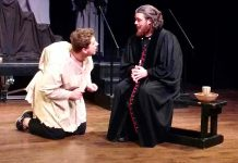 "Brandon Remmelgas as Quasimodo and Rowan Lamoureux as Claude Frollo in the Anne Shirley Theatre Company production of ""The Hunchback of Notre Dame"", a musical based on Victor Hugo's 1831 novel and the 1996 Disney animated film. The production runs from March 9 to 17 at Peterborough's Market Hall. (Photo: Sam Tweedle / kawarthaNOW.com)"