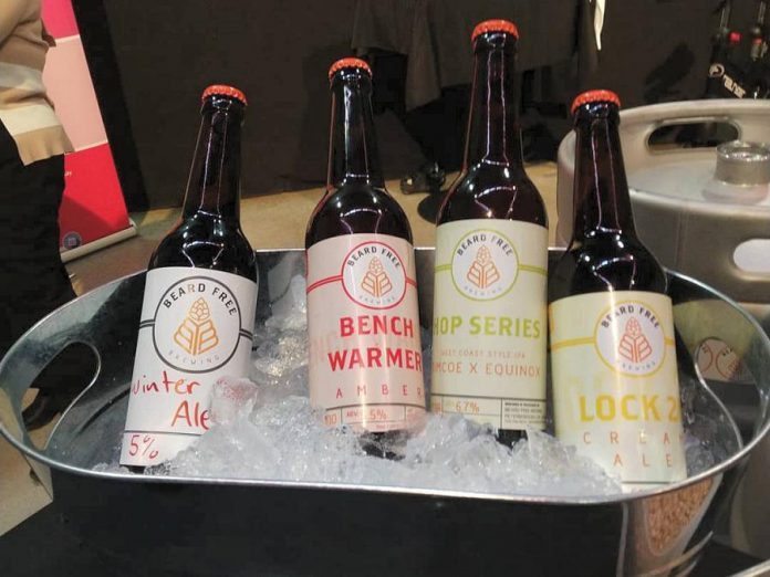 Beard Free Brewing took some of their brews to the 2018 Bears' Lair Entreprenurial Competition showcase, including a Winter Ale developed by Steveon Zablosky. (Photo: Beard Free Brewing)