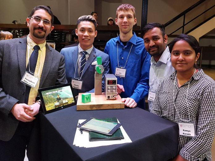 The team of ViSmart from Fleming College, one of the innovation finalists for the 2018 Bears' Lair entrepreneurial competition. The finalists, which also include Transit One and and Kavtek in the innovation stream, and Full Tilt Cycle, Percheron Plastic Inc., and Indigo Green in the goods and services stream, were announced at a showcase event at The Venue in Peterborough on March 6, 2018. (Photo: Ferydoon Diba / Twitter)