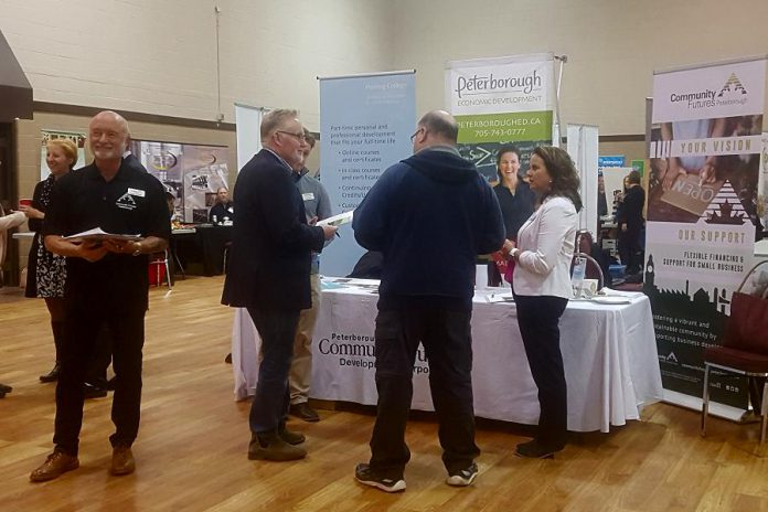 At a recent job fair for GE employees, Joe Rees and Rhonda Keenan of Peterborough & The Kawarthas Economic Development discuss options with attendees. Of the 200 attendees at the job fair, more than 70 signed up for futher information on business development. On March 7, 2018, Community Futures Peterborough, Peterborough & The Kawarthas Economic Development, and Fleming College will be providing GE employees with information on training, business development, and business financing opportunities. (Photo: Community Futures Peterborough)
